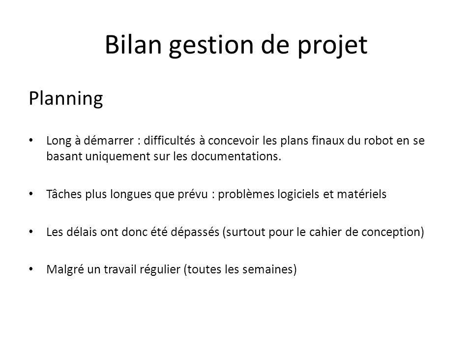 Bilan gestion de projet Planning Long à démarrer : difficultés à concevoir les plans finaux du robot en se basant uniquement sur les documentations. T
