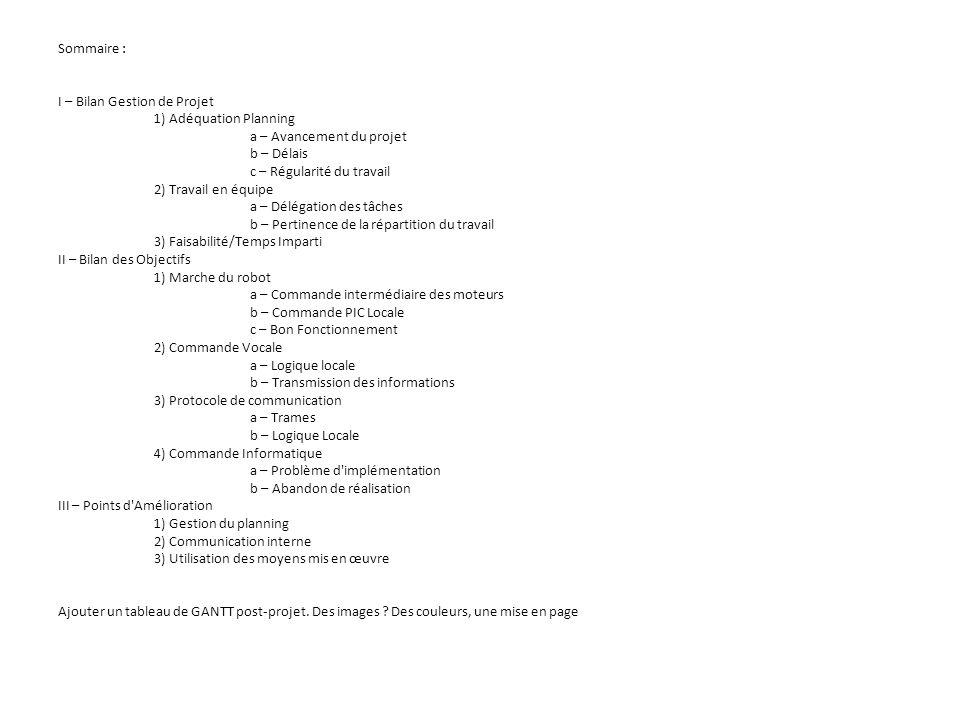Sommaire : I – Bilan Gestion de Projet 1) Adéquation Planning a – Avancement du projet b – Délais c – Régularité du travail 2) Travail en équipe a – D