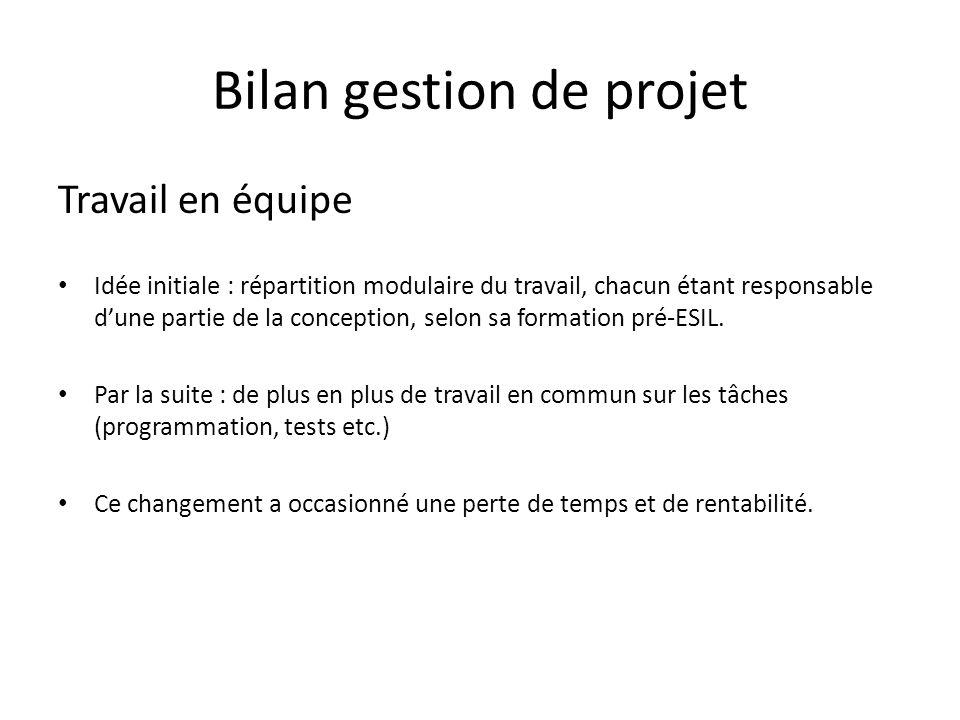 Bilan gestion de projet Travail en équipe Idée initiale : répartition modulaire du travail, chacun étant responsable dune partie de la conception, sel