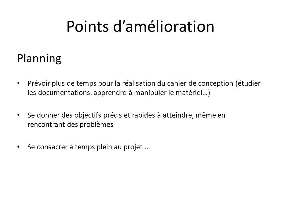 Points damélioration Planning Prévoir plus de temps pour la réalisation du cahier de conception (étudier les documentations, apprendre à manipuler le