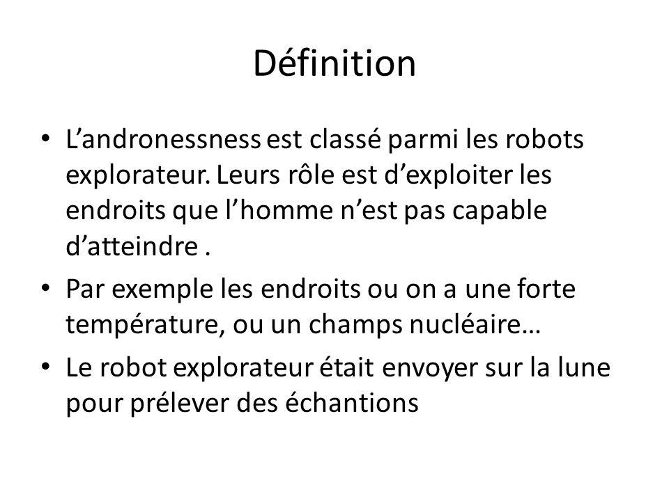 Définition Landronessness est classé parmi les robots explorateur. Leurs rôle est dexploiter les endroits que lhomme nest pas capable datteindre. Par