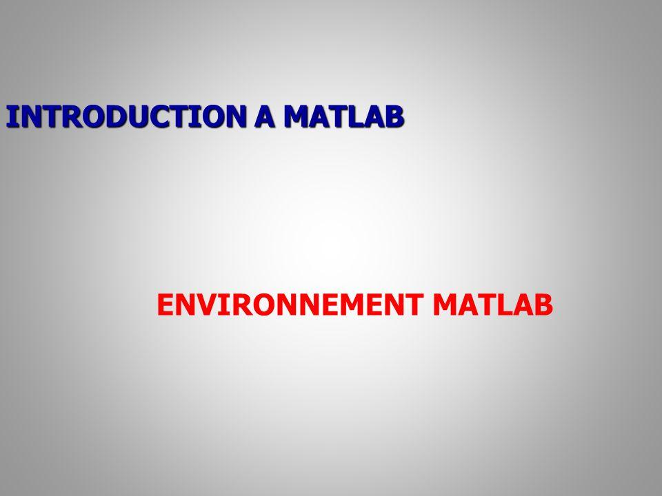 ENVIRONNEMENT MATLAB Aide / Help: L icône permet d accéder à l aide en ligne.