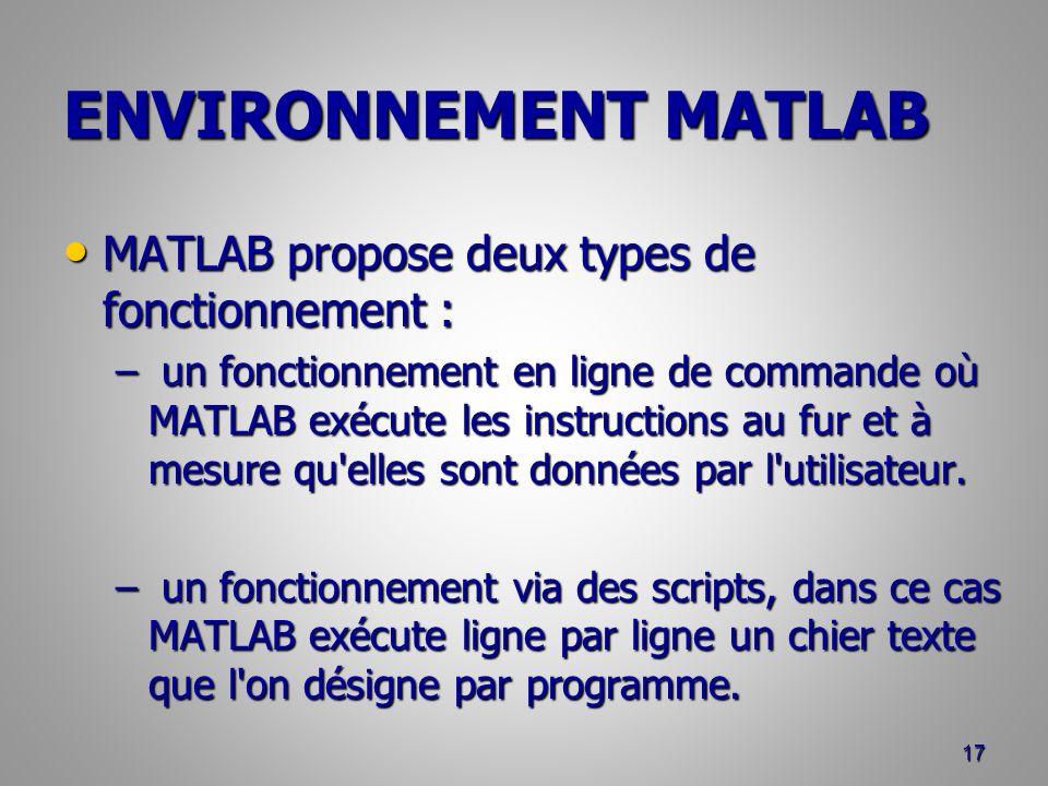 ENVIRONNEMENT MATLAB MATLAB propose deux types de fonctionnement : MATLAB propose deux types de fonctionnement : – un fonctionnement en ligne de commande où MATLAB exécute les instructions au fur et à mesure qu elles sont données par l utilisateur.