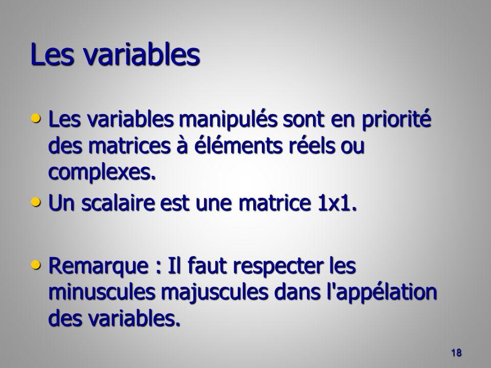 Les variables Les variables manipulés sont en priorité des matrices à éléments réels ou complexes.