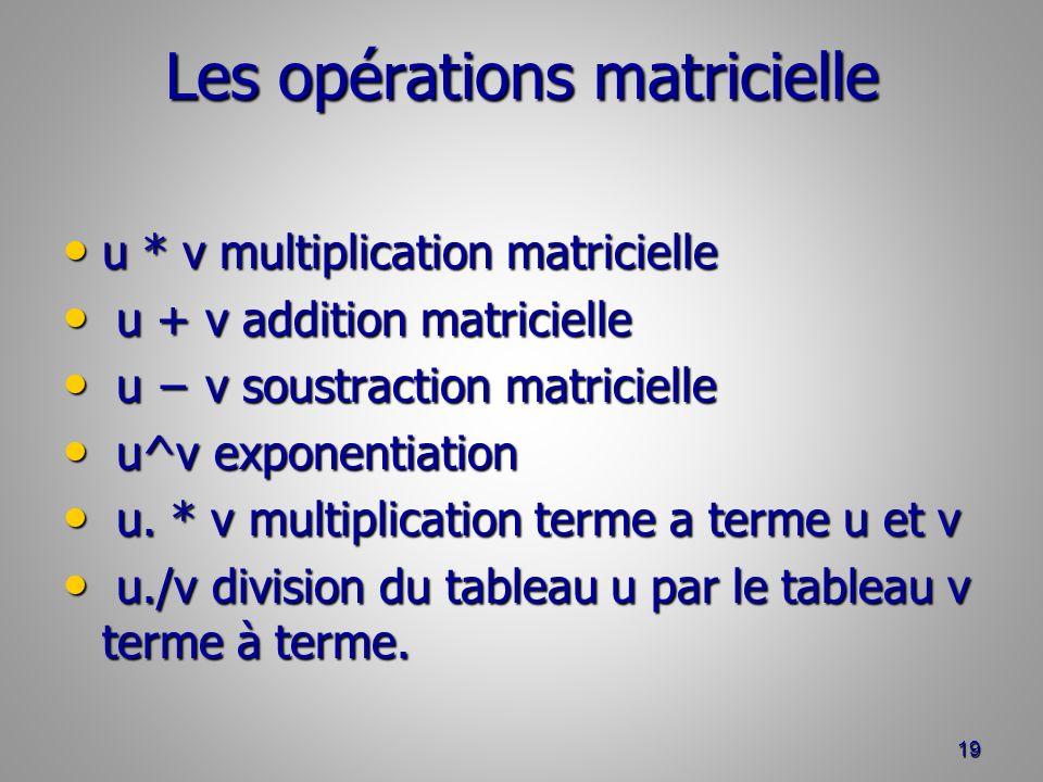 Les opérations matricielle u * v multiplication matricielle u * v multiplication matricielle u + v addition matricielle u + v addition matricielle u v soustraction matricielle u v soustraction matricielle u^v exponentiation u^v exponentiation u.
