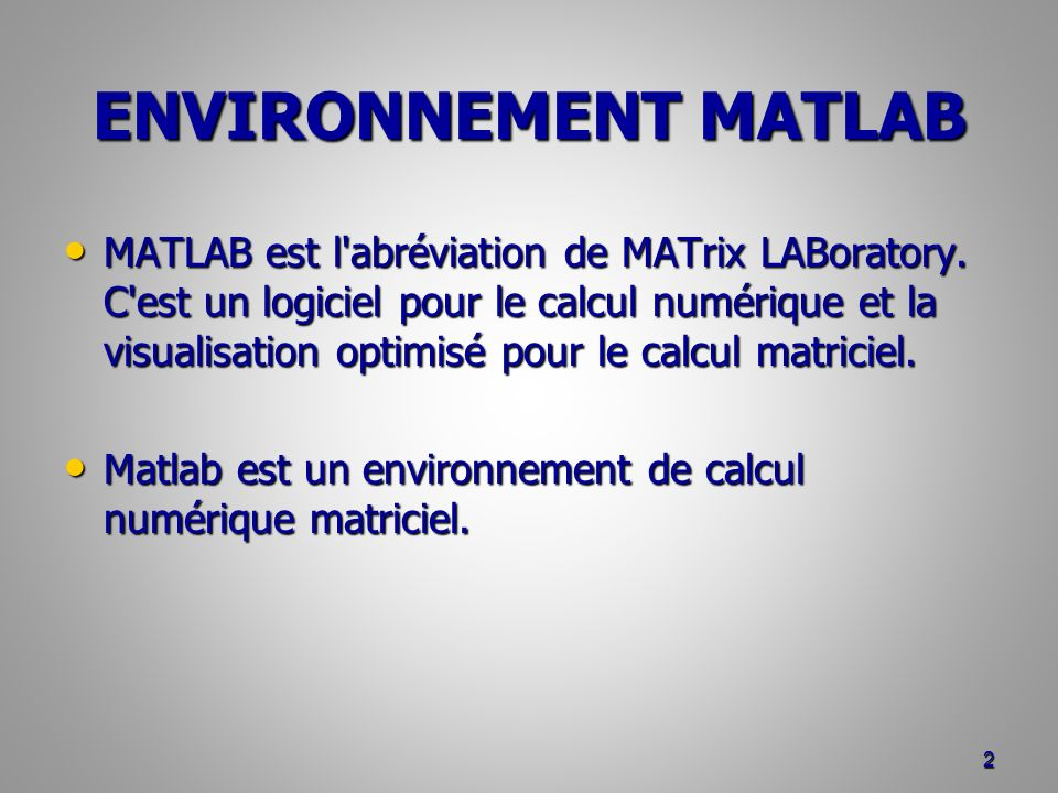 ENVIRONNEMENT MATLAB 13