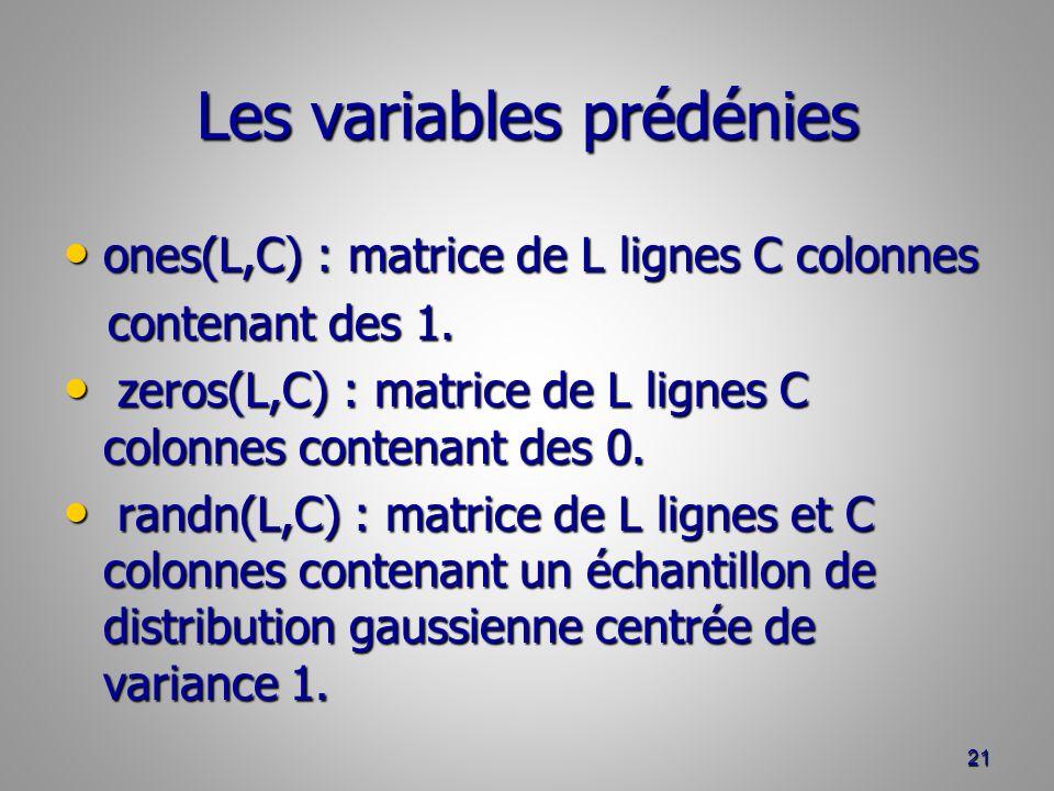 Les variables prédénies ones(L,C) : matrice de L lignes C colonnes ones(L,C) : matrice de L lignes C colonnes contenant des 1.