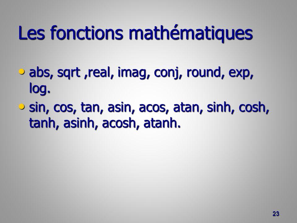 Les fonctions mathématiques abs, sqrt,real, imag, conj, round, exp, log.