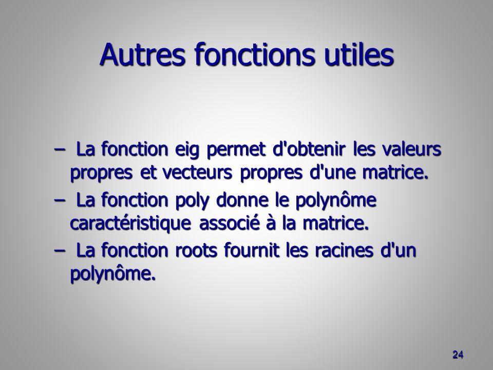 Autres fonctions utiles – La fonction eig permet d obtenir les valeurs propres et vecteurs propres d une matrice.