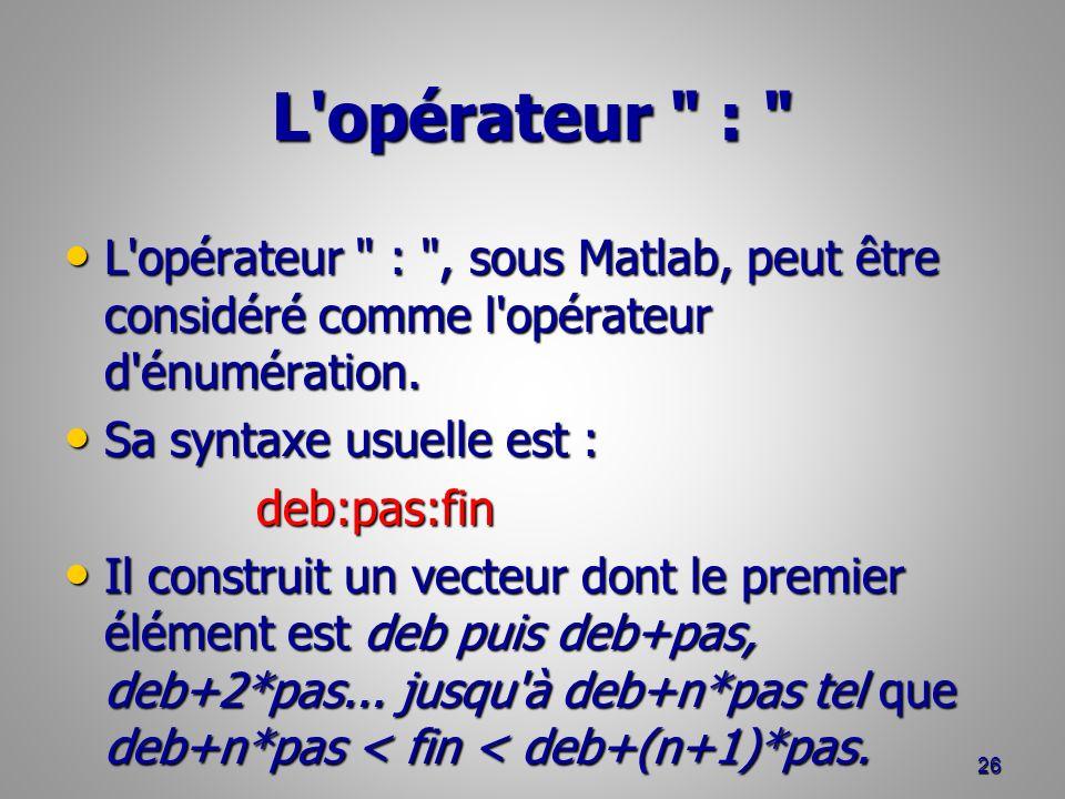 L opérateur : L opérateur : , sous Matlab, peut être considéré comme l opérateur d énumération.