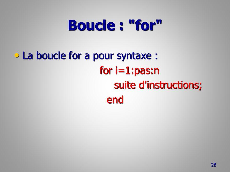 Boucle : for La boucle for a pour syntaxe : La boucle for a pour syntaxe : for i=1:pas:n for i=1:pas:n suite d instructions; suite d instructions;end 28