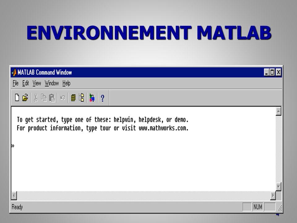ENVIRONNEMENT MATLAB Autres outils Editeur : accès par File New M_file ou icône Editeur : accès par File New M_file ou icône Débugger : intégrer à l éditeur Débugger : intégrer à l éditeur Array_editor : dans le Workspace Browser, double clic sur une variable.