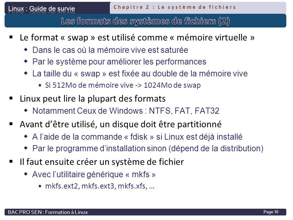Chapitre 2 : Le système de fichiers Page 10 Le format « swap » est utilisé comme « mémoire virtuelle » Dans le cas où la mémoire vive est saturée Par