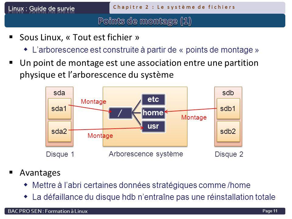Chapitre 2 : Le système de fichiers Page 11 Sous Linux, « Tout est fichier » Larborescence est construite à partir de « points de montage » Un point d