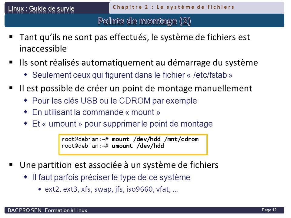Chapitre 2 : Le système de fichiers Page 12 Tant quils ne sont pas effectués, le système de fichiers est inaccessible Ils sont réalisés automatiquemen