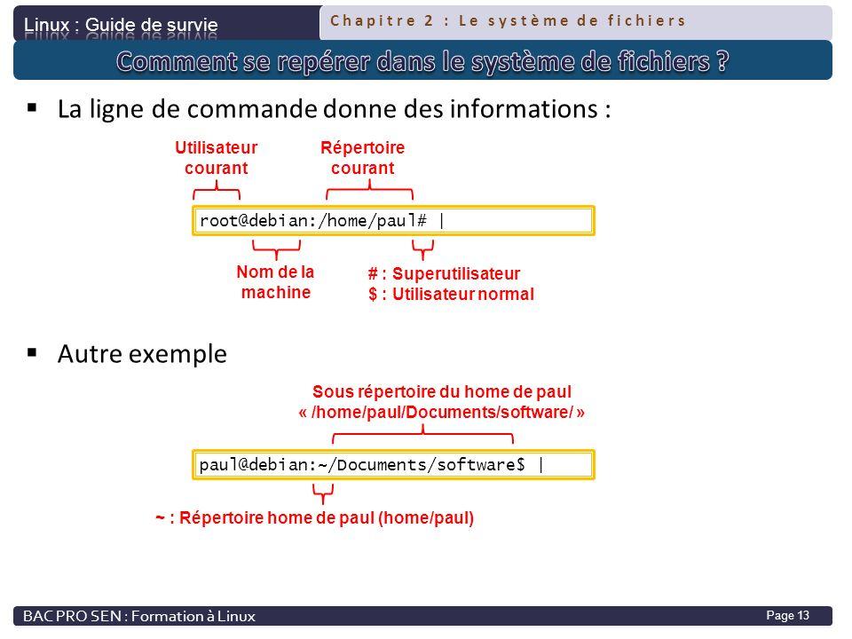 Chapitre 2 : Le système de fichiers Page 13 La ligne de commande donne des informations : Autre exemple root@debian:/home/paul# | Utilisateur courant