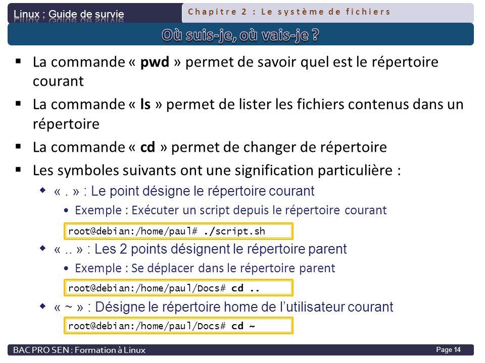 Chapitre 2 : Le système de fichiers Page 14 La commande « pwd » permet de savoir quel est le répertoire courant La commande « ls » permet de lister le