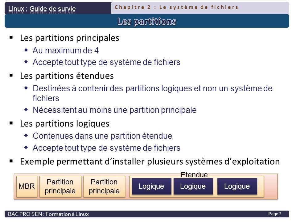 Chapitre 2 : Le système de fichiers Page 7 Les partitions principales Au maximum de 4 Accepte tout type de système de fichiers Les partitions étendues