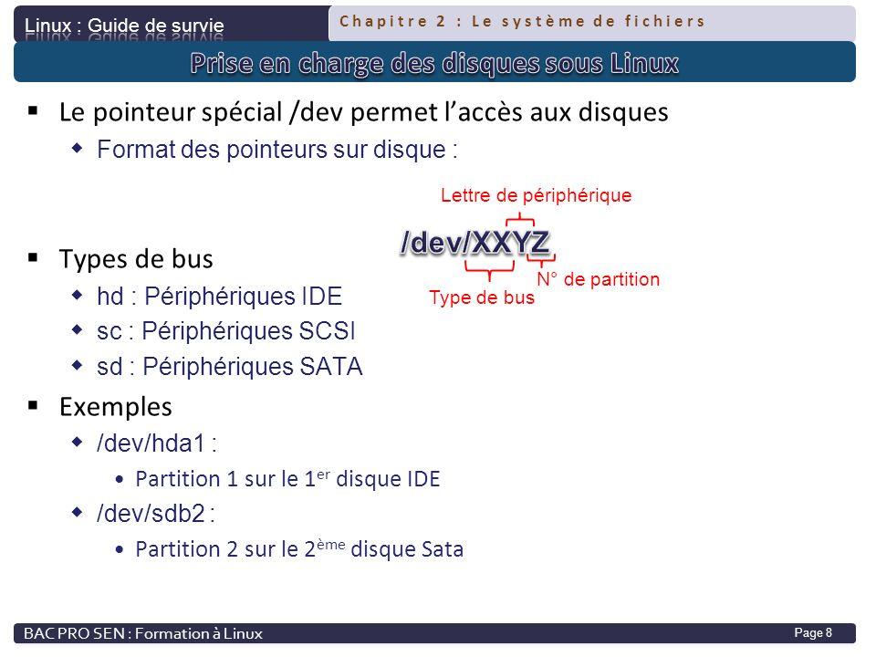 Chapitre 2 : Le système de fichiers Page 8 Le pointeur spécial /dev permet laccès aux disques Format des pointeurs sur disque : Types de bus hd : Péri