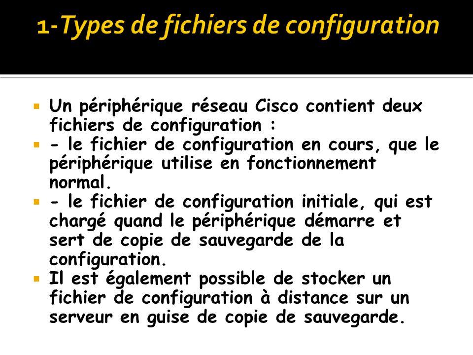Un périphérique réseau Cisco contient deux fichiers de configuration : - le fichier de configuration en cours, que le périphérique utilise en fonction