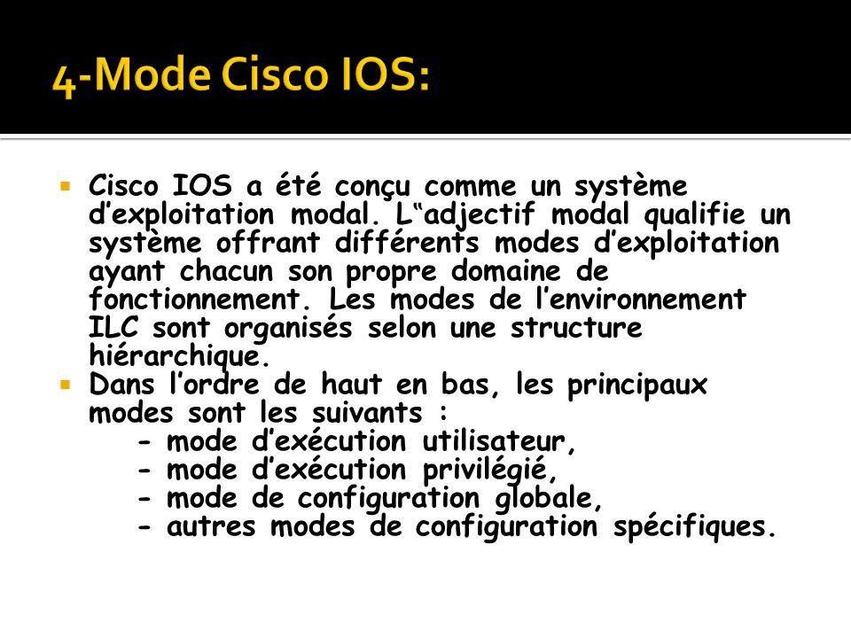 Cisco IOS a été conçu comme un système dexploitation modal. L adjectif modal qualifie un système offrant différents modes dexploitation ayant chacun s