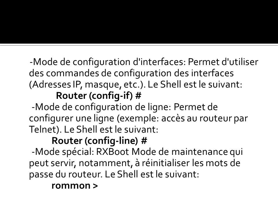 -Mode de configuration d'interfaces: Permet d'utiliser des commandes de configuration des interfaces (Adresses IP, masque, etc.). Le Shell est le suiv