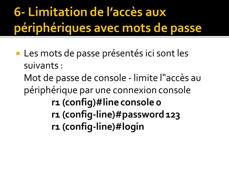 Les mots de passe présentés ici sont les suivants : Mot de passe de console - limite l accès au périphérique par une connexion console r1 (config)#lin