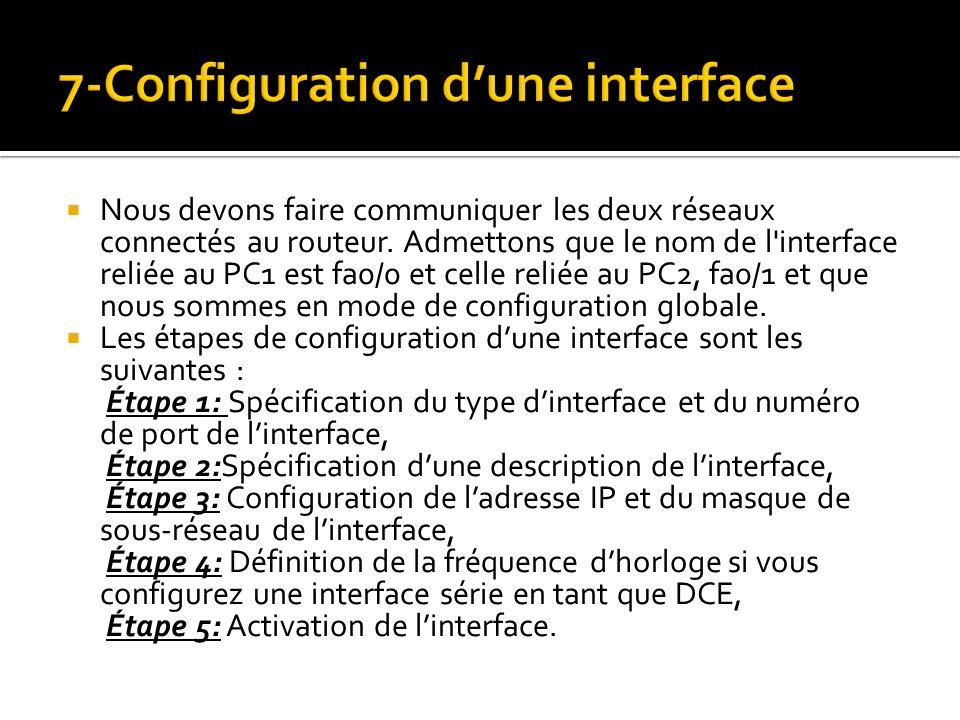 Nous devons faire communiquer les deux réseaux connectés au routeur. Admettons que le nom de l'interface reliée au PC1 est fa0/0 et celle reliée au PC