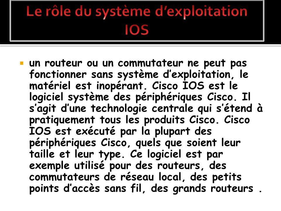 un routeur ou un commutateur ne peut pas fonctionner sans système dexploitation, le matériel est inopérant. Cisco IOS est le logiciel système des péri