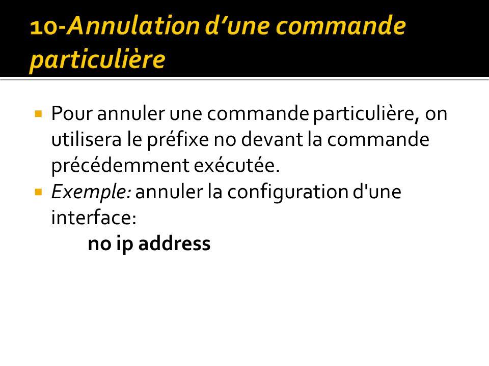 Pour annuler une commande particulière, on utilisera le préfixe no devant la commande précédemment exécutée. Exemple: annuler la configuration d'une i