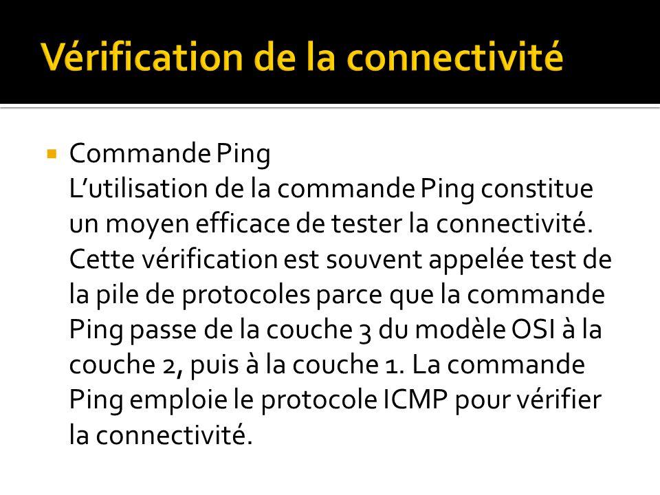 Commande Ping Lutilisation de la commande Ping constitue un moyen efficace de tester la connectivité. Cette vérification est souvent appelée test de l