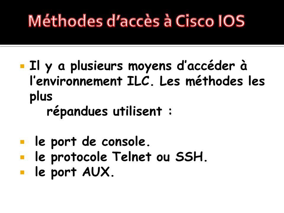 Il y a plusieurs moyens daccéder à lenvironnement ILC. Les méthodes les plus répandues utilisent : le port de console. le protocole Telnet ou SSH. le