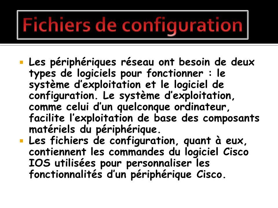 Les périphériques réseau ont besoin de deux types de logiciels pour fonctionner : le système dexploitation et le logiciel de configuration. Le système