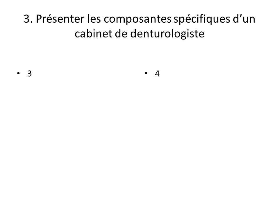 3. Présenter les composantes spécifiques dun cabinet de denturologiste 3 4
