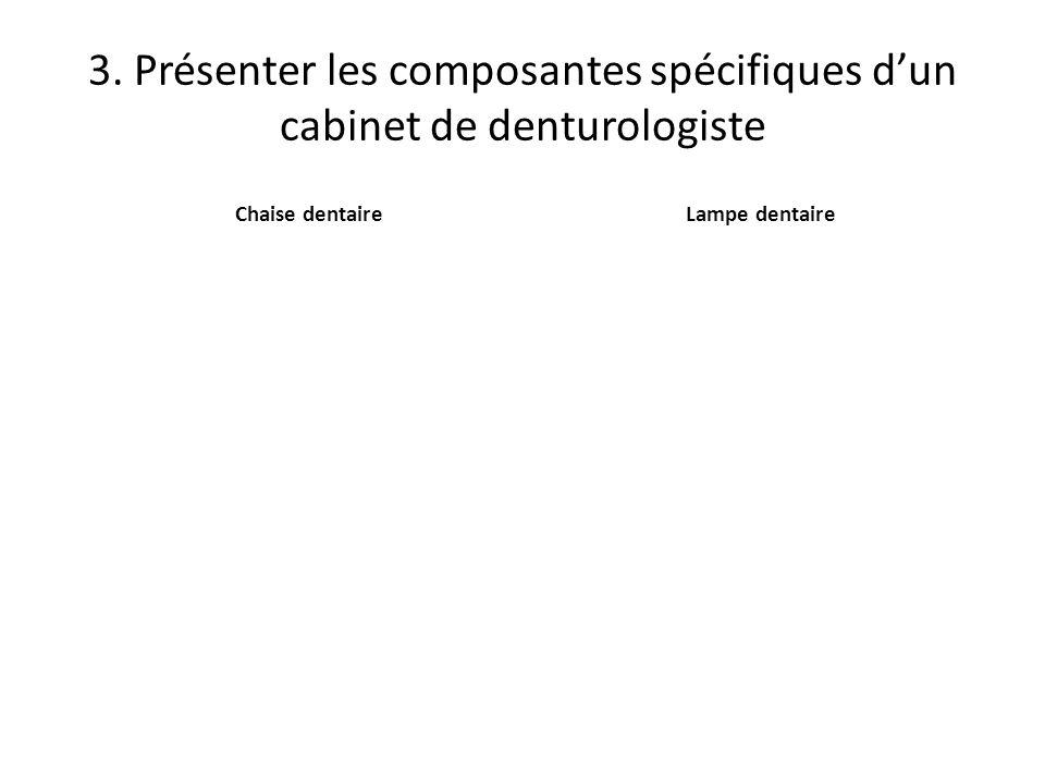 3. Présenter les composantes spécifiques dun cabinet de denturologiste CrachoirStérilisateur