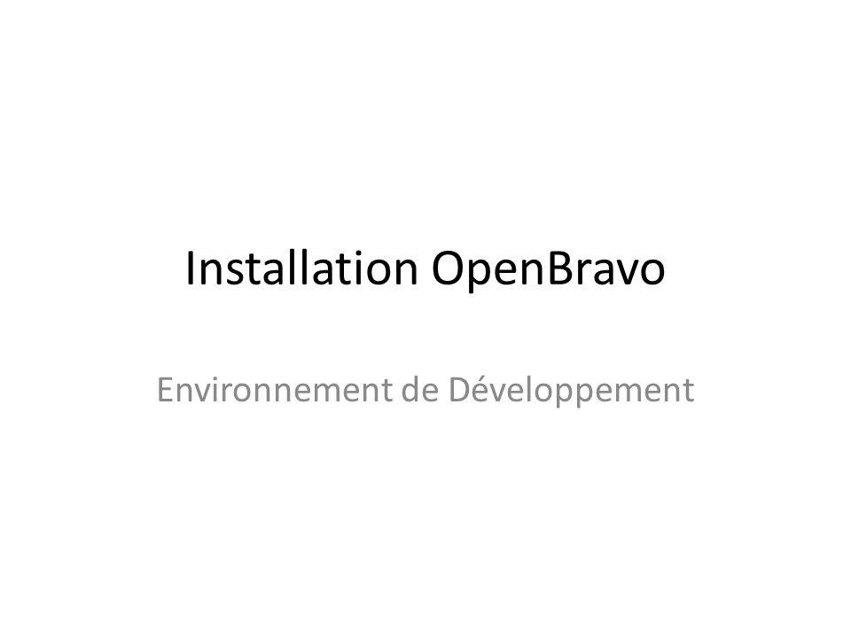 Installation OpenBravo Environnement de Développement