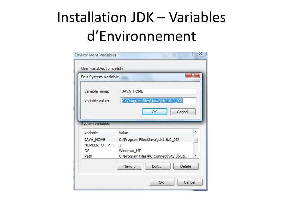 Installation JDK – Variables dEnvironnement