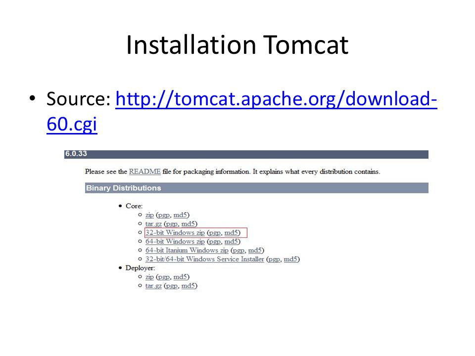 Installation Tomcat Source: http://tomcat.apache.org/download- 60.cgihttp://tomcat.apache.org/download- 60.cgi