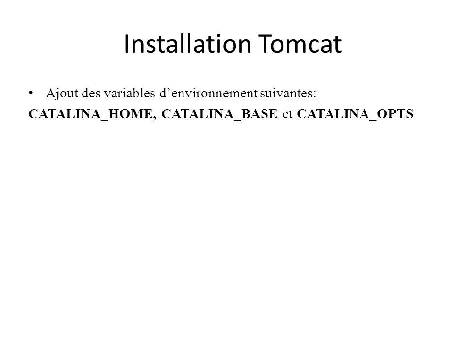 Installation Tomcat Ajout des variables denvironnement suivantes: CATALINA_HOME, CATALINA_BASE et CATALINA_OPTS
