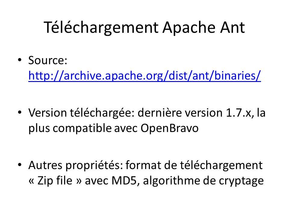 Téléchargement Apache Ant Source: http://archive.apache.org/dist/ant/binaries/ http://archive.apache.org/dist/ant/binaries/ Version téléchargée: derni