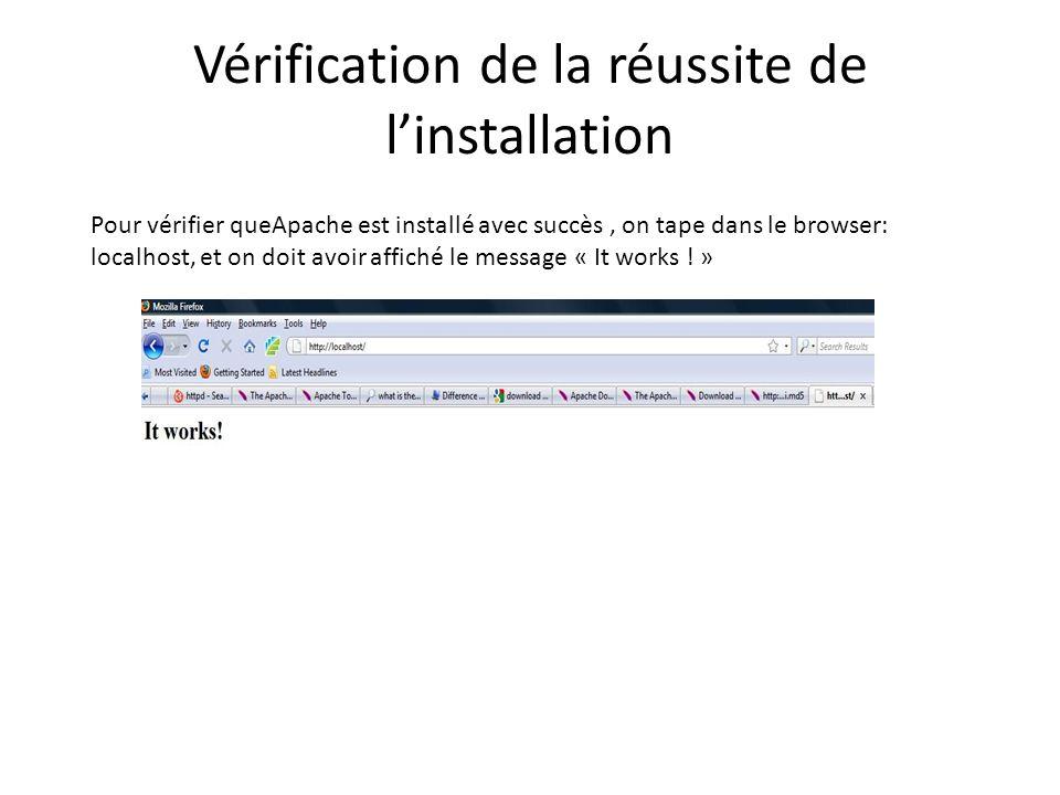 Vérification de la réussite de linstallation Pour vérifier queApache est installé avec succès, on tape dans le browser: localhost, et on doit avoir af