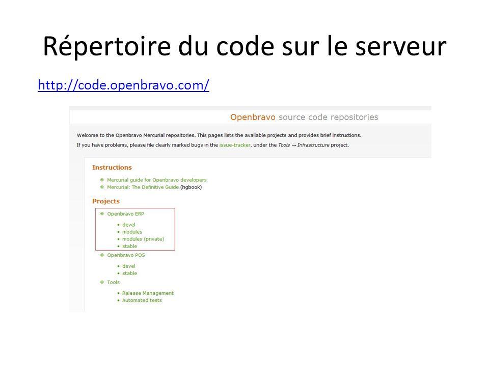 Répertoire du code sur le serveur http://code.openbravo.com/
