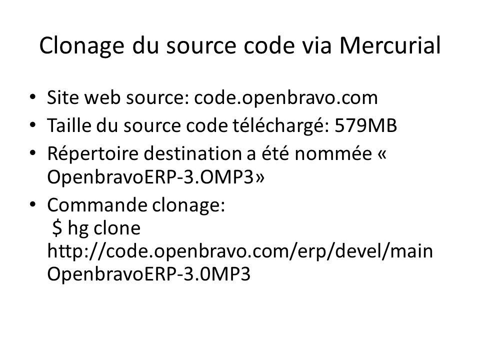 Site web source: code.openbravo.com Taille du source code téléchargé: 579MB Répertoire destination a été nommée « OpenbravoERP-3.OMP3» Commande clonag