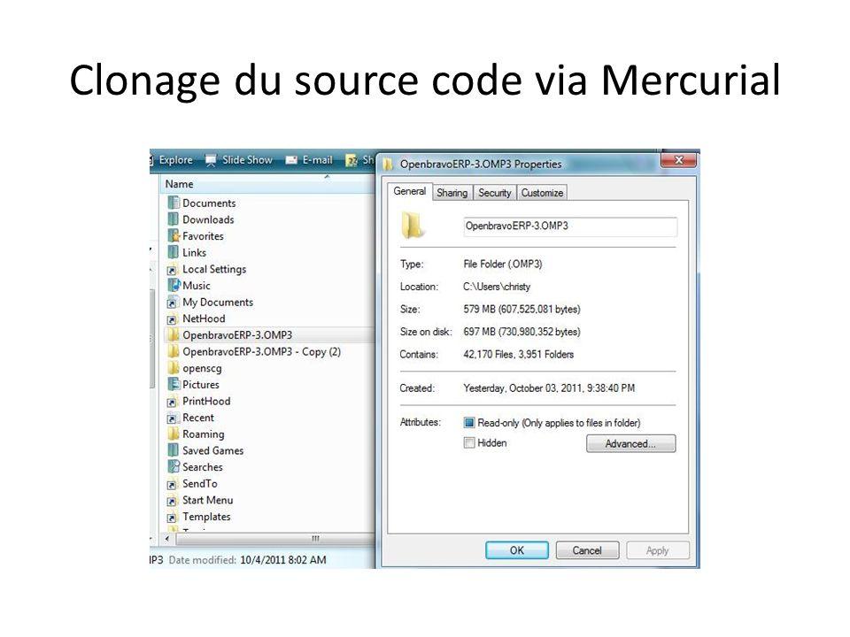 Clonage du source code via Mercurial
