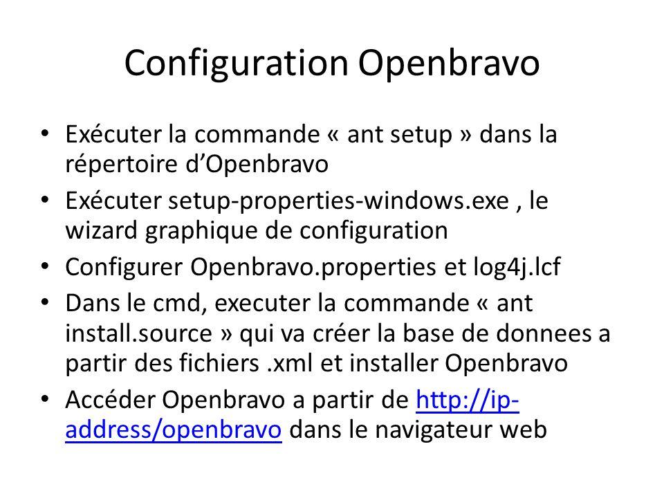 Configuration Openbravo Exécuter la commande « ant setup » dans la répertoire dOpenbravo Exécuter setup-properties-windows.exe, le wizard graphique de