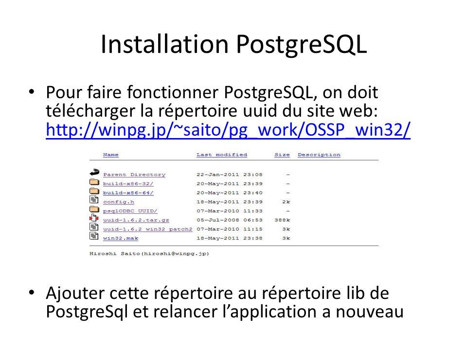 Pour faire fonctionner PostgreSQL, on doit télécharger la répertoire uuid du site web: http://winpg.jp/~saito/pg_work/OSSP_win32/ http://winpg.jp/~sai