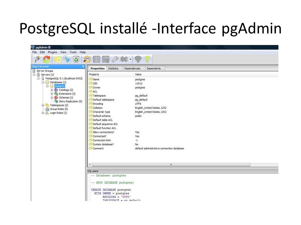 PostgreSQL installé -Interface pgAdmin