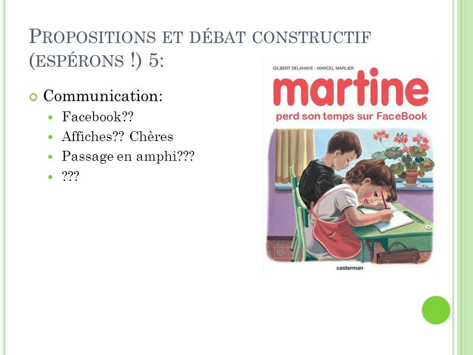 P ROPOSITIONS ET DÉBAT CONSTRUCTIF ( ESPÉRONS !) 5: Communication: Facebook?.