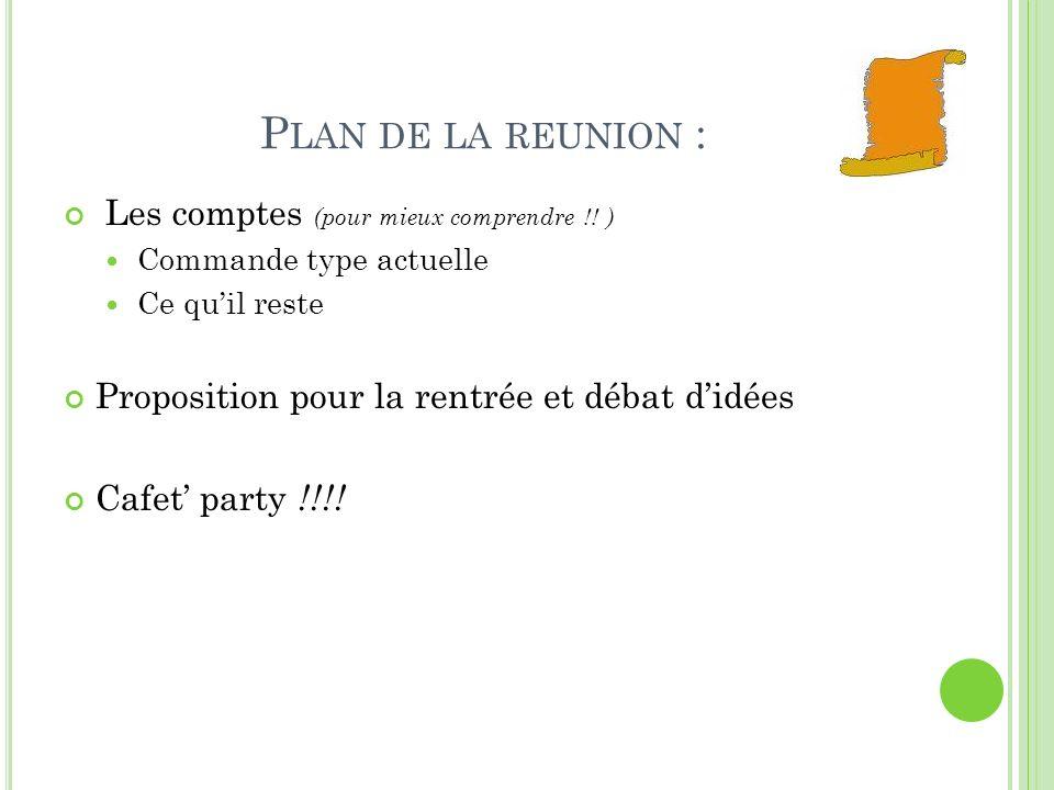 P LAN DE LA REUNION : Les comptes (pour mieux comprendre !.