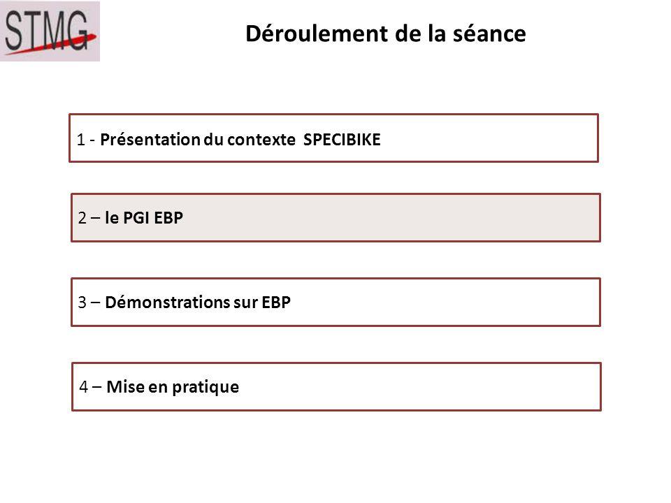Déroulement de la séance 1 - Présentation du contexte SPECIBIKE 2 – le PGI EBP 3 – Démonstrations sur EBP 4 – Mise en pratique